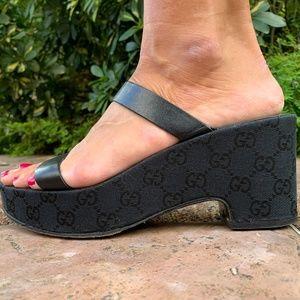 Black GUCCI GG Logo Platform Sandals